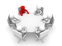 hombres 3D que se sientan en una mesa redonda y que tienen reunión de negocios Foto de archivo