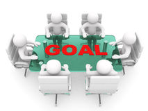 hombres 3D que se sientan en una tabla y que tienen reunión de negocios - rende 3d Fotografía de archivo libre de regalías