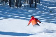 Hombres de la mujer del invierno del esquí que esquían cuesta abajo, Fotografía de archivo