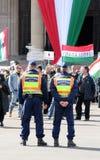 Hombres de la policía en el día hungraian de la revolución Fotos de archivo libres de regalías