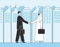 Hombres de negocios árabes, apretón de manos del negocio Inversores musulmanes en el fondo de los rascacielos de la ciudad Ejempl stock de ilustración