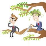 Hombres de negocios, árbol, aserrando