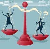 Hombres de negocios abstractos de la balanza en escalas gigantes. Fotos de archivo