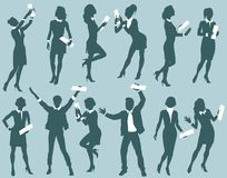 Hombres de negocios acertados de las siluetas ilustración del vector