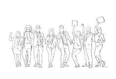 Hombres de negocios alegres del grupo de la silueta del bosquejo de los empresarios de Team With Raised Hands On del fondo feliz  libre illustration