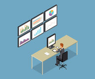 Hombres de negocios analíticos en informe del gráfico del monitor y SEO en el web Vector plano workplace oficina Hombre de negoci Imagenes de archivo