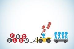 Hombres de negocios azules y tractor de la ventaja roja del hombre de negocios para manejar el problema, la dirección y el concep Fotografía de archivo