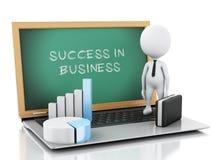 hombres de negocios blancos 3d con el gráfico y el ordenador portátil de la estadística Foto de archivo libre de regalías