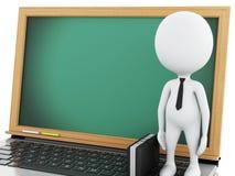 hombres de negocios blancos 3d con la cartera y el ordenador portátil Imagen de archivo