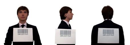 Hombres de negocios con el código de barras, aislado en blanco Foto de archivo libre de regalías