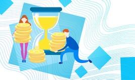 Hombres de negocios con la moneda Rich Businesspeople Finance Success del dinero de la moneda del reloj de la arena Imagenes de archivo