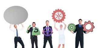 Hombres de negocios con los iconos coloreados Fotografía de archivo libre de regalías