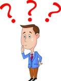 Hombres de negocios con los signos de interrogación Imágenes de archivo libres de regalías
