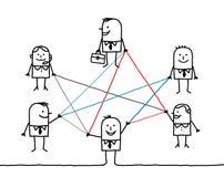 Hombres de negocios conectados por las líneas de color Fotografía de archivo libre de regalías