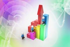 hombres de negocios 3d que suben en gráfico de barra ilustración del vector