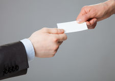 Hombres de negocios de cambio de la tarjeta de visita Foto de archivo libre de regalías
