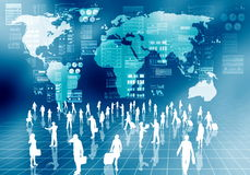 Hombres de negocios de Internet en mundo virtual Foto de archivo