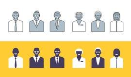 Hombres de negocios de la colección simple de los avatares Fotos de archivo libres de regalías