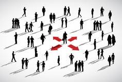 Hombres de negocios de la discusión de la pertenencia étnica del concepto de las flechas ilustración del vector