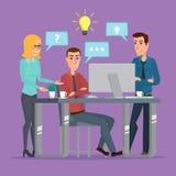 Hombres de negocios de la idea de la oficina del trabajo en equipo que se encuentran discutiendo la oficina stock de ilustración