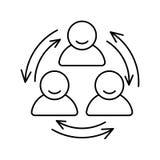 Hombres de negocios de la línea relacionada icono del vector con las flechas Reunión de grupo, lugar de trabajo, comunicación emp