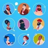 Hombres de negocios de la mezcla del grupo de la imagen de Avatar del icono del perfil de la bandera étnica diversa de la raza Foto de archivo libre de regalías