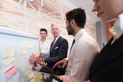 Hombres de negocios de la reunión de reflexión del grupo y notas el llevar flipboar Imágenes de archivo libres de regalías