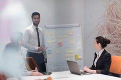 Hombres de negocios de la reunión de reflexión del grupo y notas el llevar la boa del tirón Fotos de archivo libres de regalías