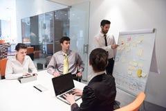 Hombres de negocios de la reunión de reflexión del grupo y notas el llevar la boa del tirón Fotografía de archivo libre de regalías