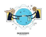 Hombres de negocios de la sacudida de la mano en smartphone a través del mundo stock de ilustración