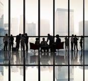 Hombres de negocios de la silueta Team Communication Concept Fotos de archivo
