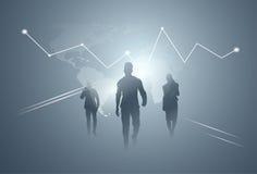Hombres de negocios de la silueta Team Over Finance Graphic Background del grupo Imagen de archivo
