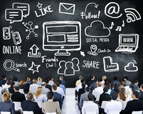 Hombres de negocios de las comunicaciones globales medios Conce social del seminario Imagen de archivo