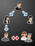Hombres de negocios de las escrituras de la etiqueta/etiquetas engomadas Fotografía de archivo libre de regalías