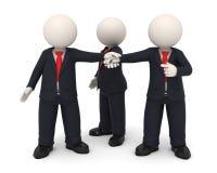 hombres de negocios de las manos 3d juntas unidas como personas Fotografía de archivo