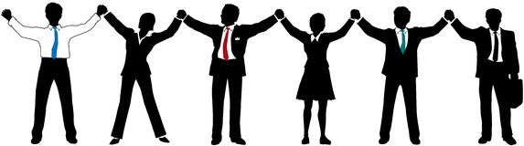 Hombres de negocios de las personas de las manos del asimiento para arriba en línea Fotos de archivo libres de regalías