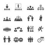 Hombres de negocios de las reuniones e iconos de las conferencias stock de ilustración