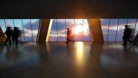 Hombres de negocios de las siluetas viajero que camina, horizonte de la ciudad de la vista posterior en la puesta del sol, Timela stock de ilustración