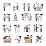 Hombres de negocios de los iconos del lugar de trabajo fijados stock de ilustración