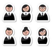 Hombres de negocios de los iconos fijados - escrituras de la etiqueta Foto de archivo libre de regalías
