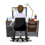 Hombres de negocios de los oficinistas que se sientan en los ordenadores, illu del vector libre illustration