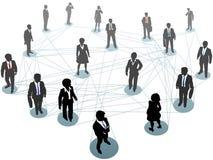Hombres de negocios de red de los nodos de la conexión