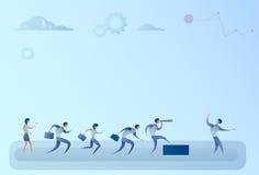 Hombres de negocios de Team Looking With Binocular On del líder Success Concept del hombre de negocios Imagen de archivo