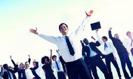 Hombres de negocios de Team Success Celebration Concept Fotografía de archivo