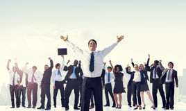 Hombres de negocios de Team Success Celebration Concepts foto de archivo libre de regalías