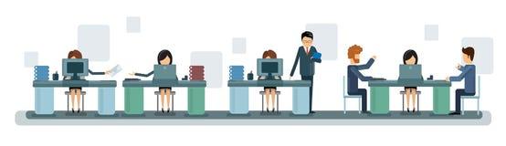 Hombres de negocios de Team Work Desktop Computer Banner stock de ilustración