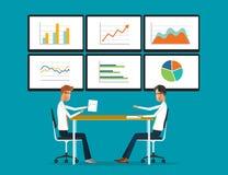 hombres de negocios del analytics del informe del gráfico sobre monitor stock de ilustración