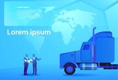 Hombres de negocios del concepto dos de la entrega del mundo que miran documentos y mapa que se coloca en semi el cargo grande de ilustración del vector