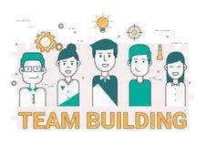 Hombres de negocios del concepto e iconos de la formación de equipo Línea plana libre illustration