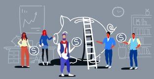 Hombres de negocios del concepto de la inversión del dinero de las monedas del dólar de la tenencia del grupo de los empresario stock de ilustración
